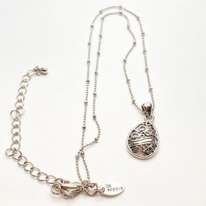 Lia Sophia Scroll Pendant Beaded Necklace